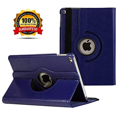 New iPad 2017 9.7' / iPad Air 2 Leather Case,360 Degree Rotating Stand Smart Cover with Auto Sleep Wake for Apple iPad Air or New iPad 9.7 Inch 2017 Tablet (Navy Blue)