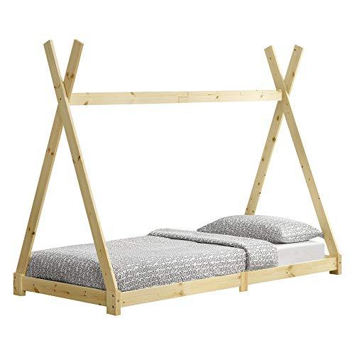[en.casa] Cama para niños de Madera Pino Höri 90 x 200cm Cama Infantil Estructura Tipi con Somier Madera Natural