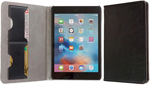 3Q Lussuosa Custodia per Apple iPad Mini 4 Vera Pelle Novità maggio 2016 Porta Tablet Cover in Vero Cuoio Top Design Esclusivo Svizzero Grigio