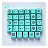 Keycap 11 Colors 29 Engraving Graphics DIY PBT Keycaps R4 MX Switch Mechanical Keyboard Keycap (Axis Body : Key Cap only, Color : Red) for Mechanical Keyboard (Color : Cyan, Size : Key Cap only)