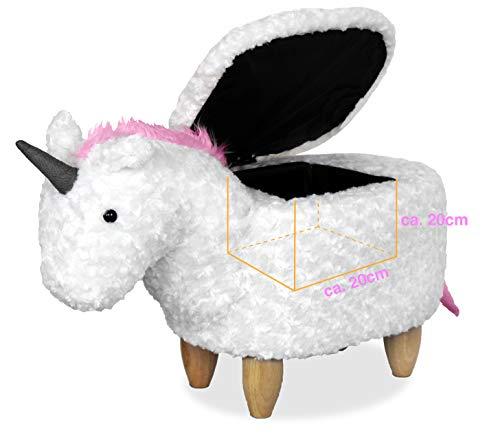 Einhorn Hocker mit kleinem Stauraum. Sitzhocker, Fußbank. Kinderhocker. Einhorn Pferd zum draufsitzen und Spielen in Weiß und Rosa.