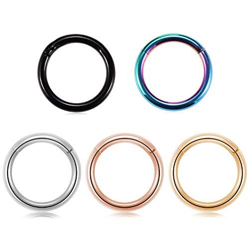 Kzslive 18G Hypoallergenic Nose Rings Clicker Segment Seamless Hoop Nose Ring Septum Ring Unisex Hoop Earrings 316l Surgical Steel Piercing 5 Pcs (18g Inner Diameter 6mm)