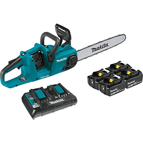 "Makita XCU04PT1 (36V) LXT Lithium-Ion Brushless Cordless (5.0Ah) 18V X2 16"" Chain Saw Kit with 4 Batteries, Teal"