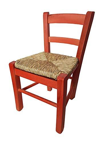 SEDIOLINA BABY IN LEGNO CON SEDUTA IN PAGLIA, sedia per bambino (Rosso)