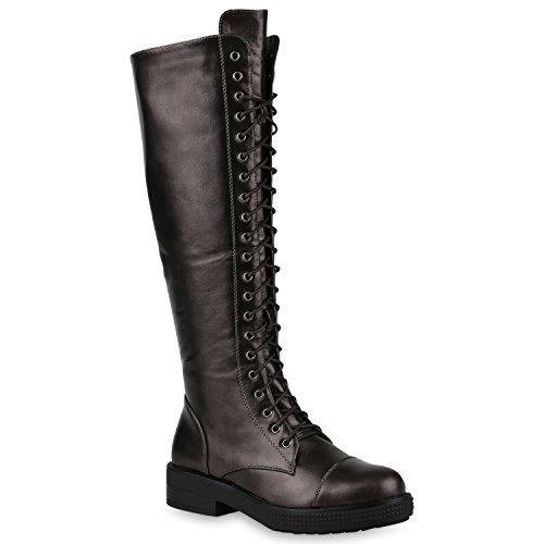 Damen Schuhe Stiefel Schnürstiefel Boots Plateau Vorne Leder-Optik GRAU METALLIC 36 Flandell