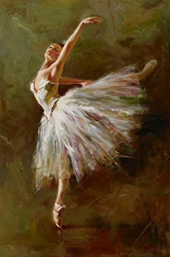 Bailarina de ballet retrato de niña pintura en lienzo carteles y fotos imágenes de arte de pared moderno para niñas decoración de dormitorio pintura decorativa sin marco-60X80cm_Unframed_DM221-15
