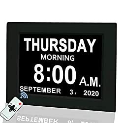 Digital Calendar Alarm Day Clock, 8 Large Screen Display, with 5 Alarm Options, AM/PM Function, for Impaired Vision People, Age Seniors, The Dementia, for Desk, Wall Mounted, with Remote Control