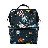 Wickelrucksack mit Cartoon-Raumschiff-Muster, Wickeltasche für Mütter, große Kapazität,...