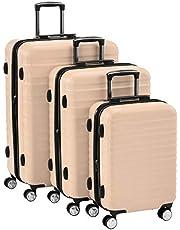AmazonBasics - Set da 3 trolley rigidi di ottima qualità, con rotelle pivotanti e lucchetto TSA integrato, 55 cm, 68 cm, 78 cm, rosa
