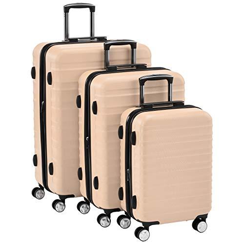 AmazonBasics - Juego de 3 maletas rígidas giratorias prémium (55 cm, 68 cm, 78 cm), rosa