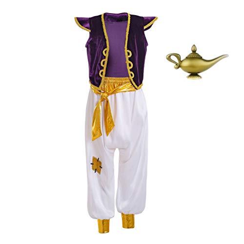 first123 Disfraz de príncipe árabe para niños, Traje de Rata callejera, Disfraz de Cosplay, Traje Elegante con lámpara de Aceite de Genio árabe