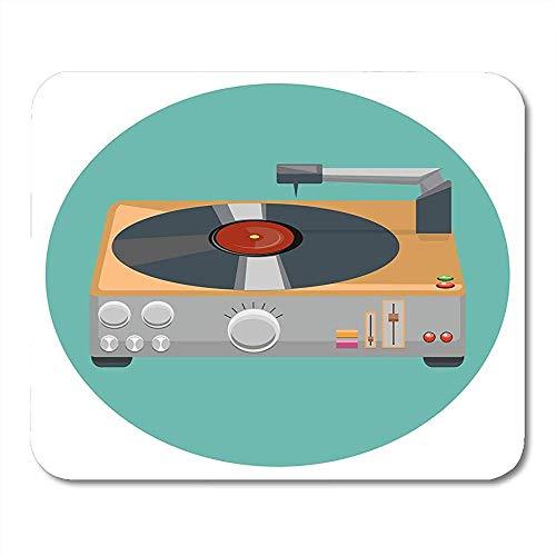 Deck White Audio Plattenspieler Vinyl Player Grammophon Die 80 \'S Stereoanlage im Flat Design Classic Disc Präzise modische Rechteck Gummi Mauspads 30X25cm