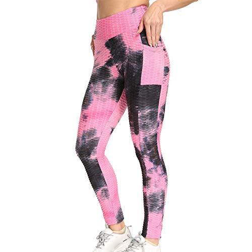 NAQUSHA Leggings con textura de burbujas para mujer, levantamiento de glúteos, pantalones de yoga con burbujas de bolsillo, para correr