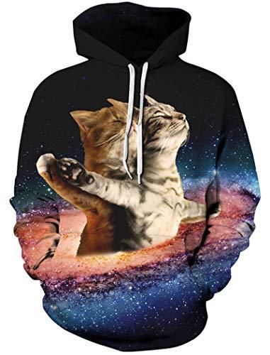 TUONROAD Hoodie Hombre Funny Galaxia Cat 3D Impreso Sudaderas con Capucha Ligero Unisex Sweatshirt Confortable Pullover Colorido Manga Larga Sweater Hoody con Bolsillos Cordón S-M