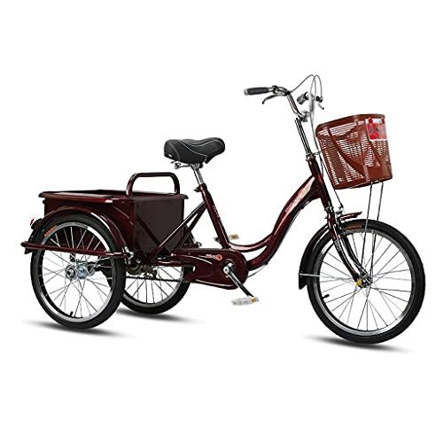 Triciclo Adulto 20in Ruedas Adulto Triciclo 1 Velocidad 3 Bicicletas De Ruedas Para Adultos Plegados Para Facilitar El Movimiento Y El Almacenamiento Ideal Para Las Compras Y Los Ejerci(Color:rojo)