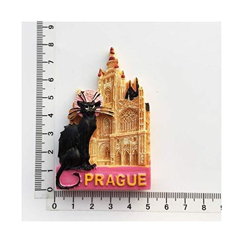 JSJJAWS Imanes Nevera Czech Praga Cultural Paisaje Turista Recuerdos para Refrigerador Pegatinas Frigorífico Imán Regalo (Color : Prague Cat)
