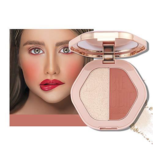 Mimore 2 colori Palette di illuminanti fard con contorno viso opaco brillante Fard naturale delle guance Palette illuminante illuminante per la carnagione Cosmetici di bellezza trucco (02)