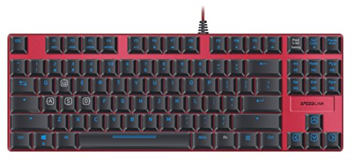 Speedlink ULTOR Mechanical USB-Gaming Keyboard with LED Illumination, N-Key Rollover, 6 Macro Keys - US-Layout, red, SL-670008-BKRD-US