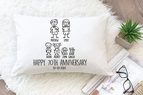 Personalizado, 70 años de boda para esposa, almohada de aniversario personalizada de 70 años, almohada de aniversario