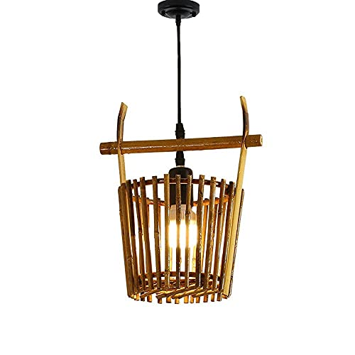 HLY Candelabro simple, estilo del sudeste asiático, forma de cubo, candelabro de bambú, moderno, japonés, ratán, colgante, iluminación, hogar, simple, cabeza, e27, fuente de luz, lámpara, tejido, man