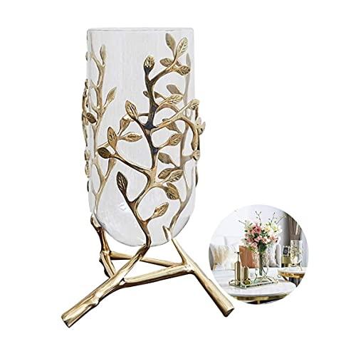 HKAFD Jarrón Decorativo Flor decoración jarrón Claro Vidrio jarrón decoración Sala de Vino Decoraciones de Flores Artificiales Mesa de Sala de Estar con Utensilios de Flores secas (Size : 37cm)