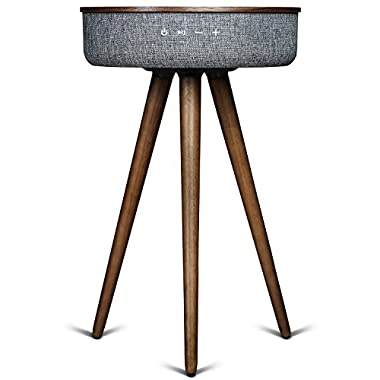 Sierra Modern Home Studio Smart Table with Built In 360° Bluetooth Speaker & Wireless Qi Charger - Black Walnut Wood Night Stand- Modern & Functional Coffee Table & Night Stand - Bed Room -Living Room