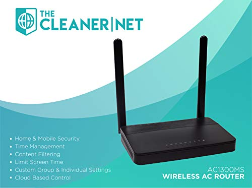 The CleanerNet Safe Internet Gigabit WiFi Router with Unlimited Home & Mobile Device Protection, Time Management & Parental Controls | Powered by Router Limits