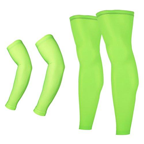 Arsuxeo Unisex Sports Running Cycling Armwarmers+Leg Warmers (XL, Green)