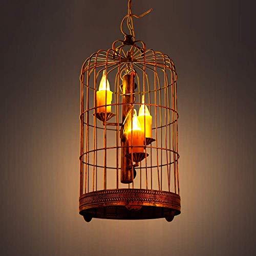LKK-KK 3 luces de la vendimia la luz del jardín del arte de la sala de la lámpara de la luminaria Birdcage sitio de la decoración Hierro Metal E14 Edison Villa barra colgante Balcón Porche Colgante ac