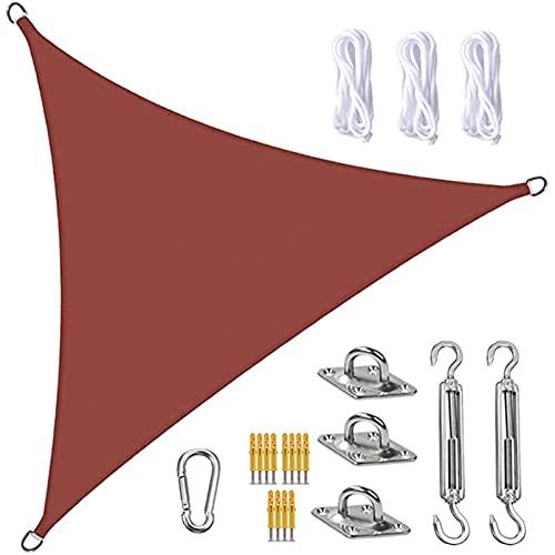 Triángulo de La Vela de La Sombra, Toldos Impermeables Exterior, con El Kit de Fijación para El Jardín, El Patio, La Piscina, El área de La Barbacoa, El óxido Rojo(Size:3.6X3.6X3.6m/11.8X11.8X11.8ft)