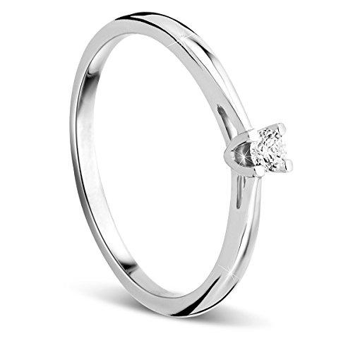 Orovi Anello Donna Solitario con Diamante taglio brillante Ct 0.07 in oro Bianco 9 kt 375