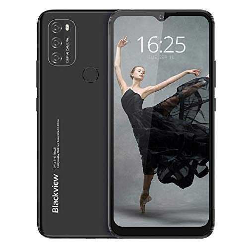 Android 11 Smarthphone Libre(2021), Blackview A70 Teléfono Móvil Octa-Core 3GB + 32GB Pantalla Waterdrop HD+ 6.517 '', Cámara Triple 13MP Movil Barato Batería 5380mAh Dual SIM 4G Face ID/GPS- Negro