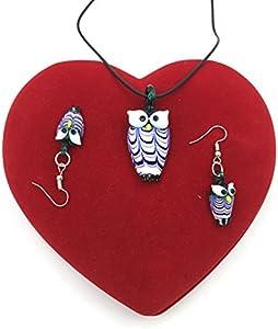 skyllc® Pendientes del Collar de la Manera cuelga el búho Lampwork Murano Sistema de la joyería