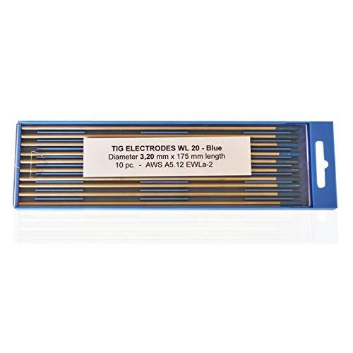 Electrodos de tungsteno lantanizados azul WL20 3,2 x 175 mm.