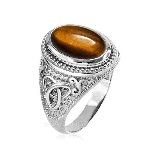 Sterling Silver Celtic Triquetra Band Tiger Eye Gemstone Mens Statement Ring (13.25)