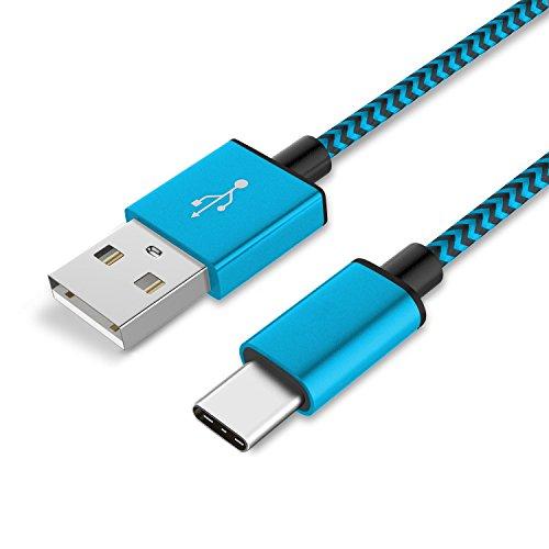 TheSmartGuard 1x USB-C Kabel kompatibel mit Sony Xperia XA1 Ultra Datenkabel/Ladekabel/USB C Premium Kabel in Blau - 1 Meter