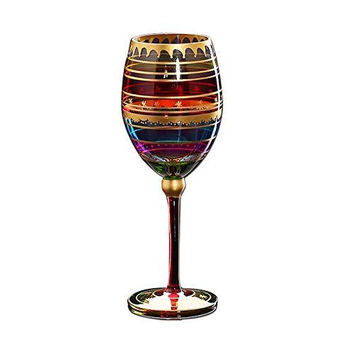 DYHM Gläser Biergläser Bierkrüge Farbige Zeichnung Weinglas große Champagnerflöten Kristall Tasse Trinkglas Stemware Gläser Coupes Bar Hotel Party Drinkware #346 (Color : Multi-Colored)