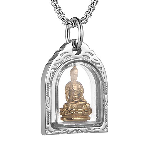 HZMAN Meditation Buddha Amitabha Amulet Gold Pendant Stainless Steel Necklace 22 + 2 Inch Chain