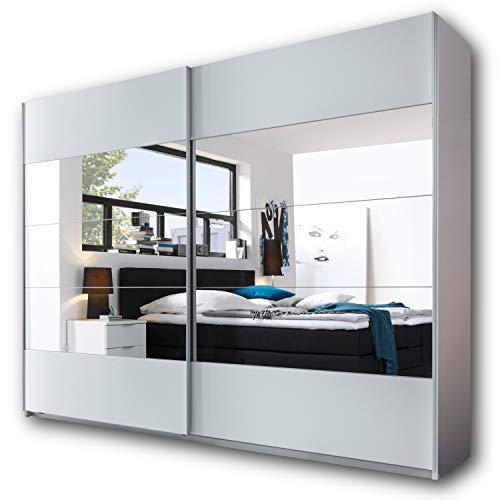 PENTA Eleganter Kleiderschrank mit viel Stauraum - Vielseitiger Schwebetürenschrank in Weiß & mit großem Spiegel - 270 x 210 x 60 cm (B/H/T)