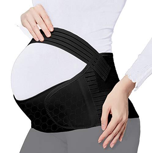Maternity Belt Pregnancy Back Support Back Brace Lightweight Abdominal Binder Maternity Belly Band for Pregnancy, Black, One size