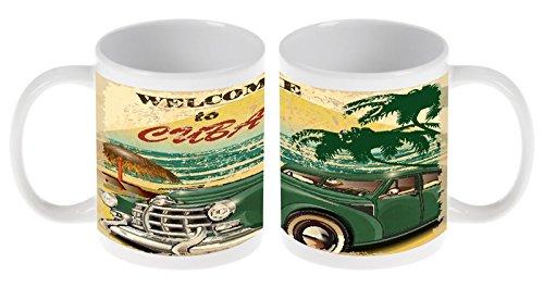 Kaffetasse Tasse Kaffeebecher Becher Latte Cappuccino Espresso Abenteurer Kuba Keramik Durchmesser 80mm x Höhe 93mm – 300 ml Inhalt bedruckt