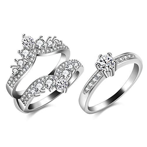 Uloveido Frauen Weißes Gold Überzogen Filigrane Vintage Crown Hochzeit Ring Wache CZ Jahrestag Verlobungsring Enhancer (59 (18.8))