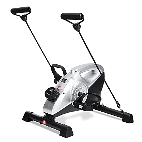 Under Desk Bike Pedal Exerciser, 16 Levels Resistance Magnetic Exercise Bike LCD Monitor for Arm Leg Body Workout at Home & Office for Elderly Recovery & Exercise (Resistance Bands Included)