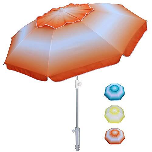AMMSUN, ombrellone da spiaggia con asta in alluminio inclinabile e ancoraggio a sabbia, portatile, antivento, con protezione UPF50+, borsa per il trasporto inclusa, Sugarpine Air Mesh - Donna, 6.5f