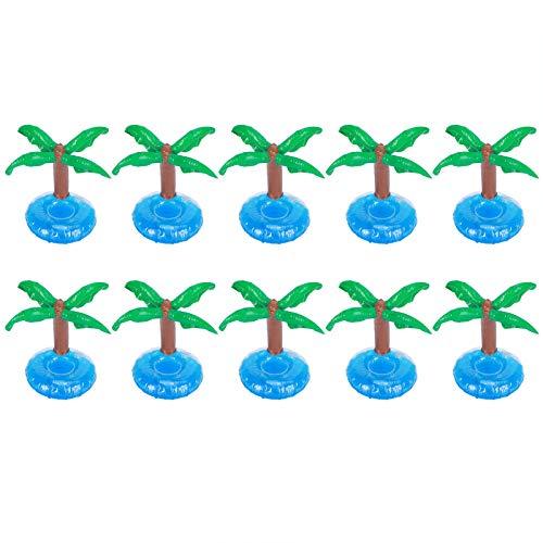 Cosiki Posavasos Inflable, portavasos Flotante de 10 Piezas, Forma de árbol de Coco para Playa, Juguetes de natación para niños, Piscina, Fiesta, baño