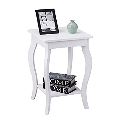 """End Table 16"""" W/Storage & Shelf Curved Legs Home Furniture for Living Room Accent Sofa Side Table Nightstand"""