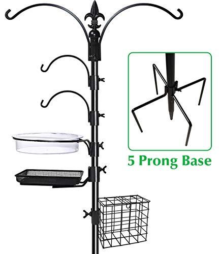 """Gray Bunny GB-6844D Deluxe Premium Bird Feeding Station, 22"""" Wide x 91"""" Tall (82 inch Above Ground) Black, Multi Feeder Hanging Kit & Bird Bath for Attracting Wild Birds, Birdfeeder & Planter Hanger"""