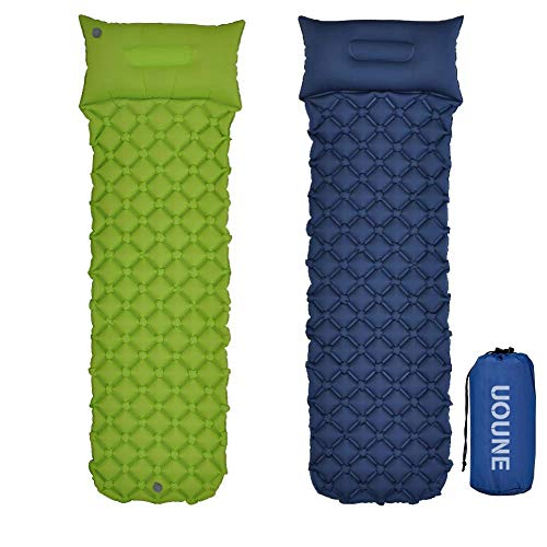 UOUNE Ultralight Sleeping Mat with Pillow Inflatable Air Camping Pad Waterproof and Moistureproof Compact and Portable Mattress for Outdoor Sport Hiking Backpacking Traveling Blue Green