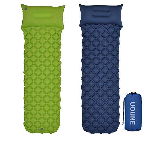 UOUNE Isomatte Camping Schlafmatte Aufblasbar Wasserdicht Faltbar mit Kissen - Luftmatratze klappbar - Ultraleicht und Kleines Packmaß - Liegematte