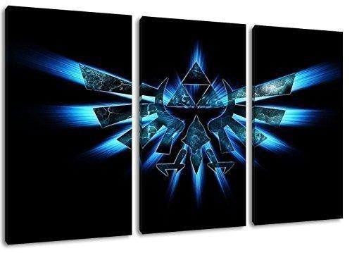 Hyrule Emblem , Zelda Motiv, 3-teilig auf Leinwand (Gesamtformat: 120x80 cm), Hochwertiger Kunstdruck als Wandbild. Billiger als ein Ölbild! ACHTUNG KEIN Poster oder Plakat!